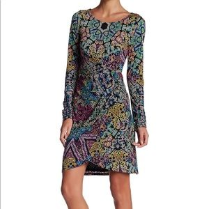 Preowned Hale Bob Boatneck Wrap Minidress L